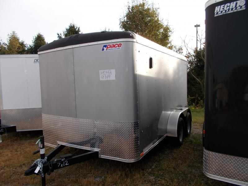2020 Pace American 7X12 JT TE2 RAMP SVNT SILVER Motorcycle Trailer