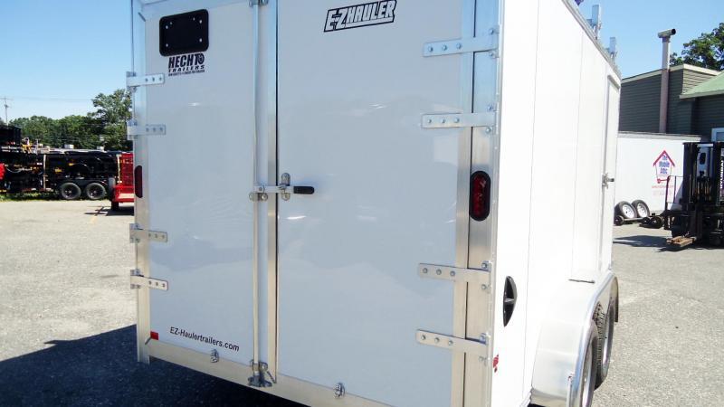 2019 E-Z Hauler 7X14 EZEC UCP ULTIMATE CONTRACTOR PACKAGE V SD LDRRCK CATWK WHITE Enclosed Cargo Trailer
