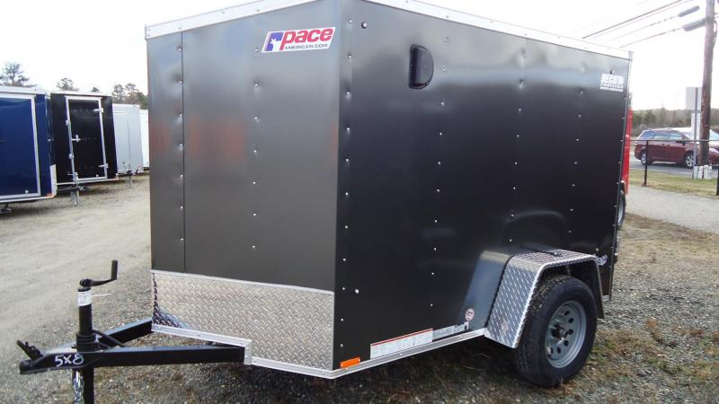 2020 Pace American 5X8 OBDLX SI2 24VS RAMP SD CHARCOAL Enclosed Cargo Trailer