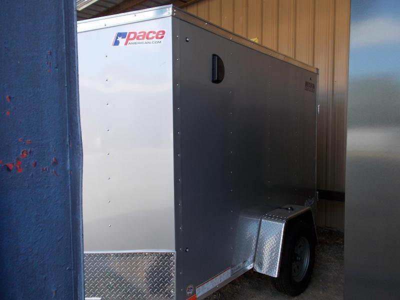 "2020 Pace American 5X8 OBDLX 24VS 6""X SVNT SILVER Enclosed Cargo Trailer"