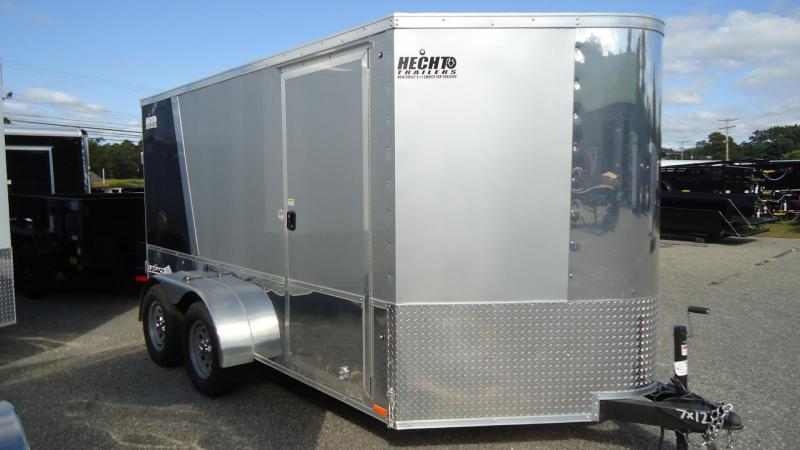 2020 Pace American 7X12 LM TE2 6X RAMP 2CHKS SILVER & BLACK Motorcycle Trailer