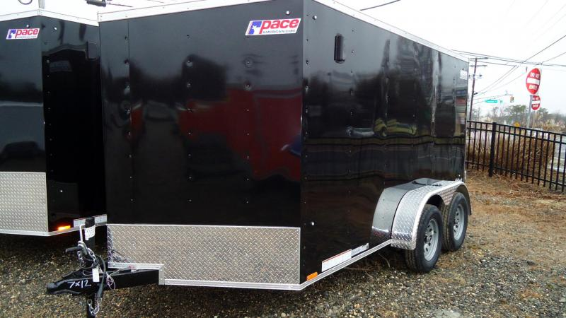 2020 Pace American 7X12 OBDLX TE2 30VS RAMP BLACK Enclosed Cargo Trailer