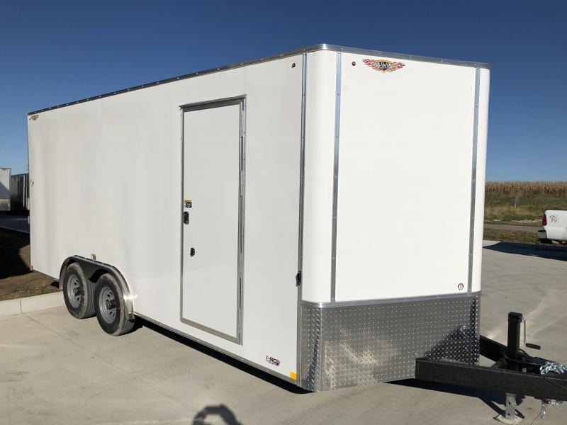 2020 H and H Trailers 8'x16' White Cargo 5.2k Axles Enclosed Flat Top V-Nose Trailer with Barn Doors