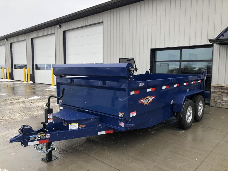 "2020 H and H Trailers 83""x14' Blue Dump Box Trailer"