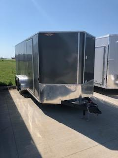 2020 H and H Trailers 7'x14' Black Cargo 3.5k Axles Enclosed Flat Top V-Nose Trailer with Barn Doors