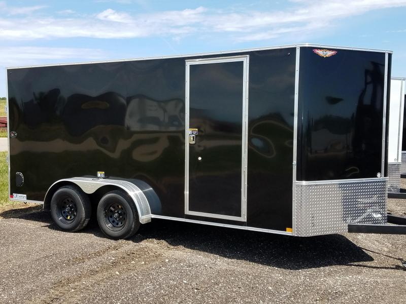 2020 H and H Trailers 7'x16' Black Cargo 5.2k Axles Enclosed Flat Top V-Nose Trailer