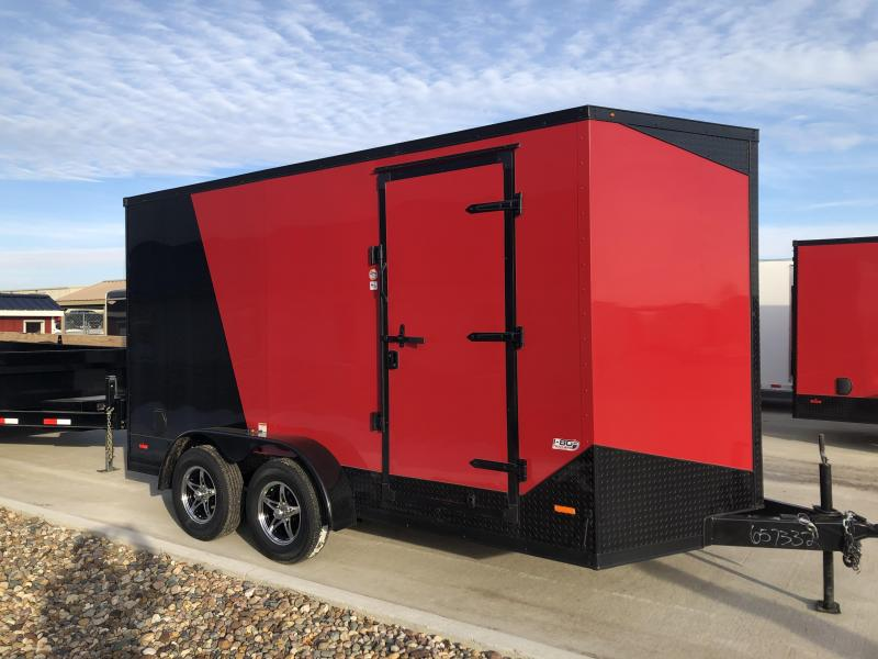 2020 RC Trailers 7'x14' Red/Black Two Tone Cargo 3.5k Axles Enclosed Flat Top V-Nose Trailer