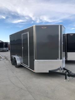 2020 H and H Trailers 7'x16' Charcoal Cargo 3.5k Axles Enclosed Flat Top V-Nose Trailer With Barn Doors