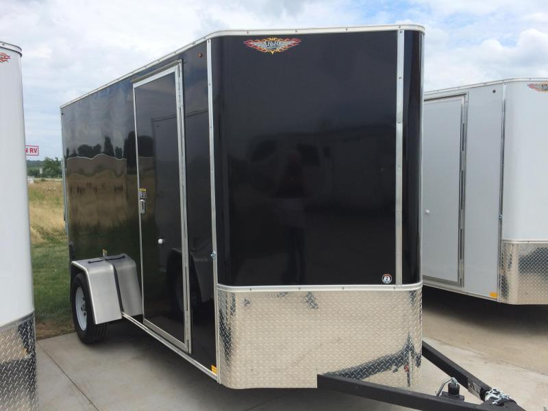 2020 H and H Trailers 7'x12' Black Cargo 3.5k Axle Enclosed Flat Top V-Nose Trailer