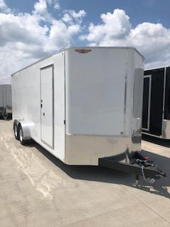 2019 H and H Trailers 7x20 White Enclosed V-Nose Tandem Axle
