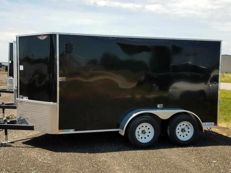 2020 H and H Trailers 7'x12' Black Cargo 3.5k Axles Enclosed Flat Top V-Nose Trailer With Barn Doors