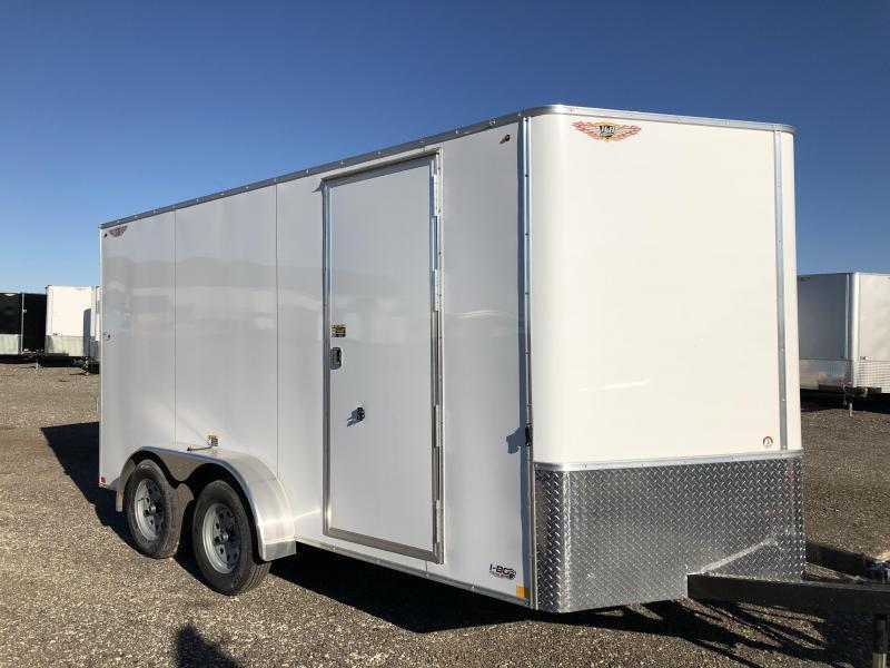 2020 H and H Trailers 7'x16' White Cargo 3.5k Axles Enclosed Flat Top V-Nose Trailer With Barn Doors