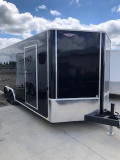 "2020 H and H Trailers 101""x20' Black Enclosed V-Nose 5.2k Tandem Axle Car Hauler"