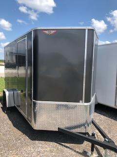 2020 H and H Trailers 7'x12' Charcoal Cargo 3.5k Axle Flat Top V-Nose Trailer with Barn Doors