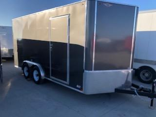 2020 H and H Trailers 8'x16' Charcoal Cargo 5.2k Axles Enclosed Flat Top V-Nose Trailer