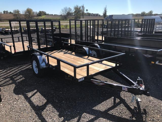 """2020 H and H Trailers 66""""x10' Black Rail Side 3.5k Axle Utility Trailer"""