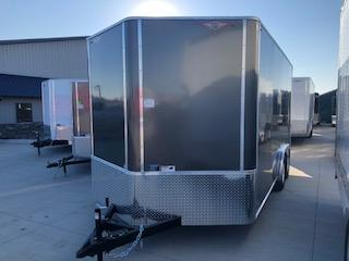 2020 H and H Trailers 8'x16' Charcoal Cargo Enclosed Flat Top V-Nose Trailer With 5.2k Axles
