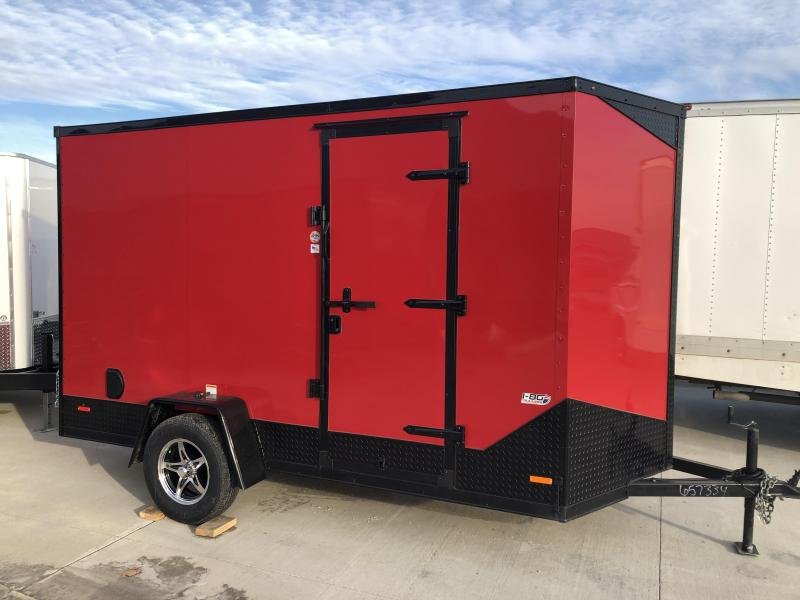 2020 RC Trailers 6'x12' Cargo Red Flat Top V-nose Enclosed Cargo Trailer