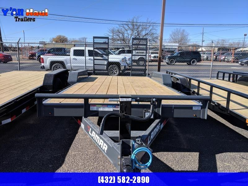 Lamar 83 X 20 7K Equipment Trailer Stand up Ramps