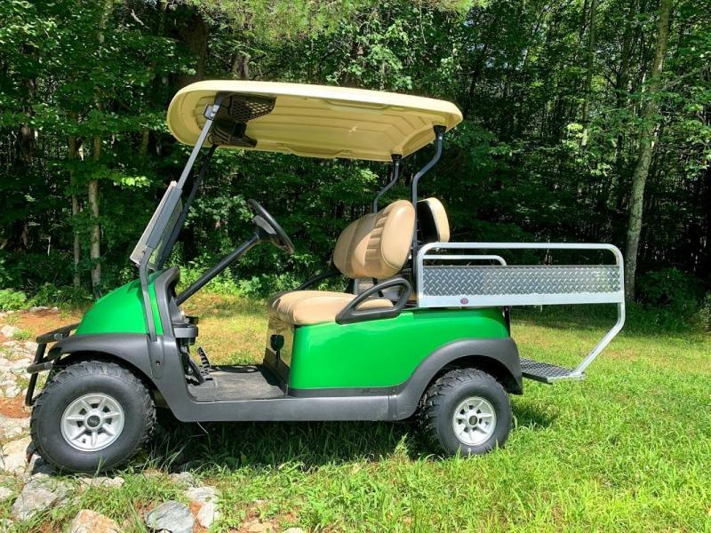 Metallic Green Club Car 48V 4 Pass golf car w/DIAMOND PLATE CARGO BOX