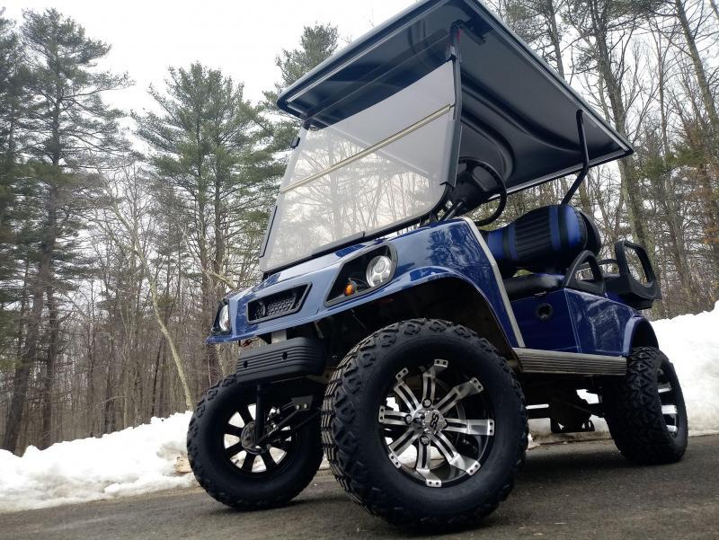 GAS Club Car CUSTOM 4 PASSENGER Metallic NAVY BLUE Spartan W/LIFT KIT