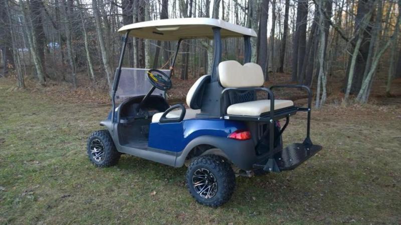 CUSTOM Precedent Metallic Sapphire Blue Lifted 4 pass electric golf cart