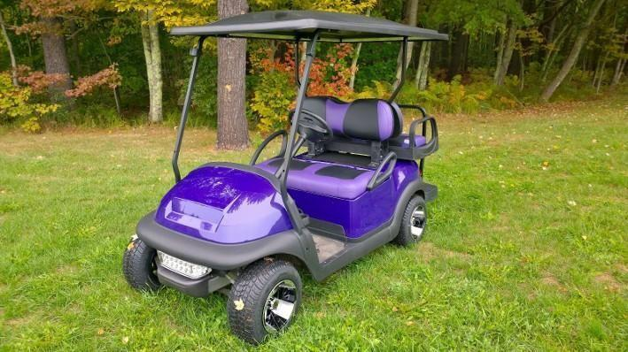 Metallic Purple LoPro Club Car Precedent Custom 4 pass electric golf cart