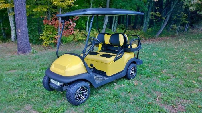 Yellow/Black Club Car Precedent Custom 4 pass elec golf cart