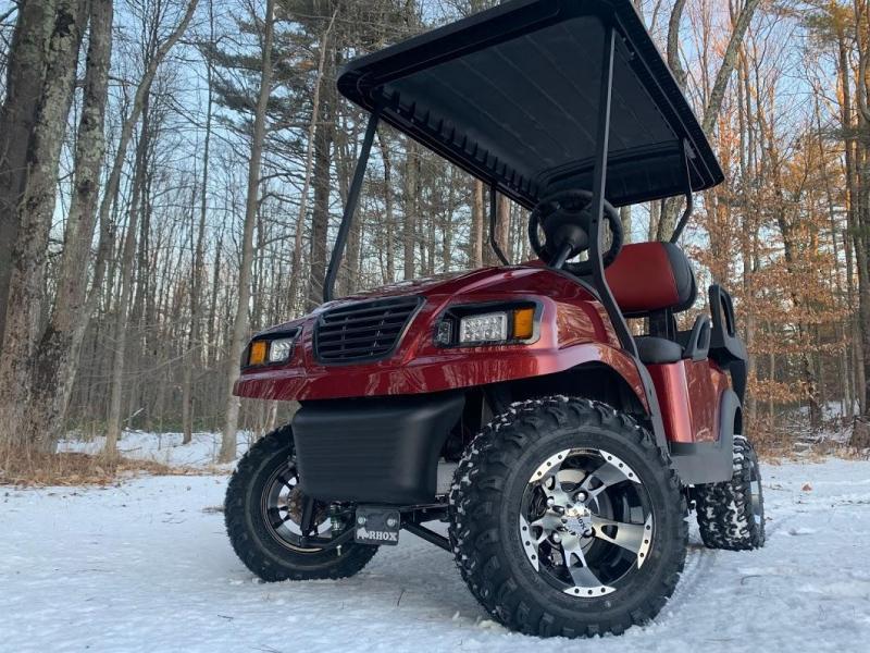 CUSTOM Precedent Burgundy Metallic Phantom ELEC 4PASS Golf Car LIFTED