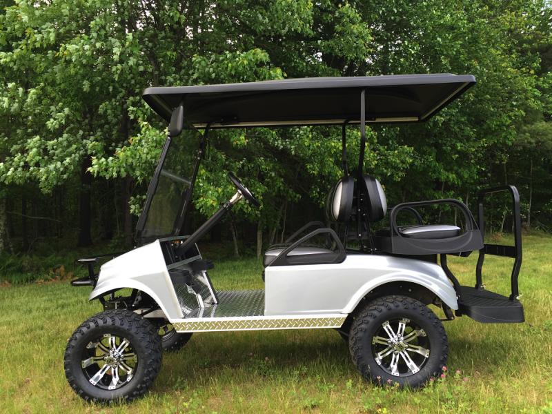 CUSTOM GAS Club Car SILVER METALLIC Spartan 4 pass golf car W/LIFT KIT