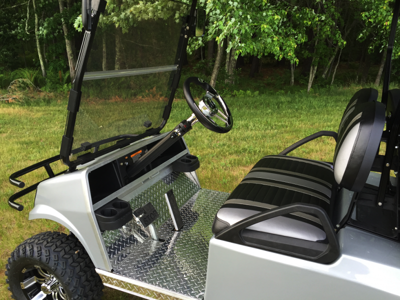 CUSTOM GAS Club Car SILVER METALLIC Spartan 4 pass golf car W/LIFT KIT