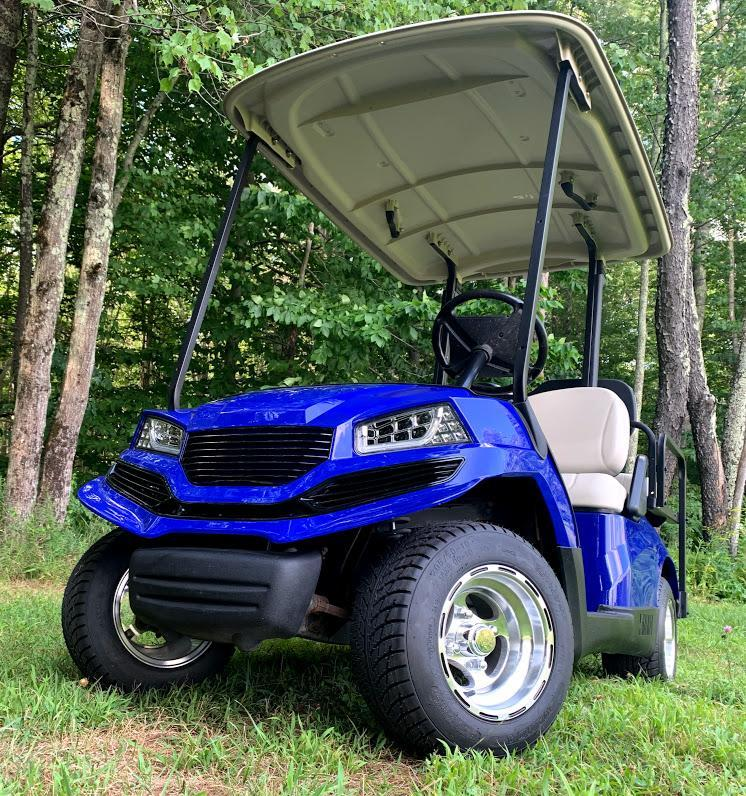 Yamaha Drive GAS 4 pass SEMI-CUSTOM golf car BLUE HAVOC body-NICE!!