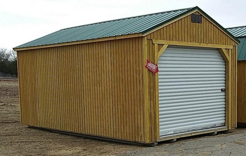 Brand New Old Hickory Garage 12' x 20' with Hunter Green Steel Roof