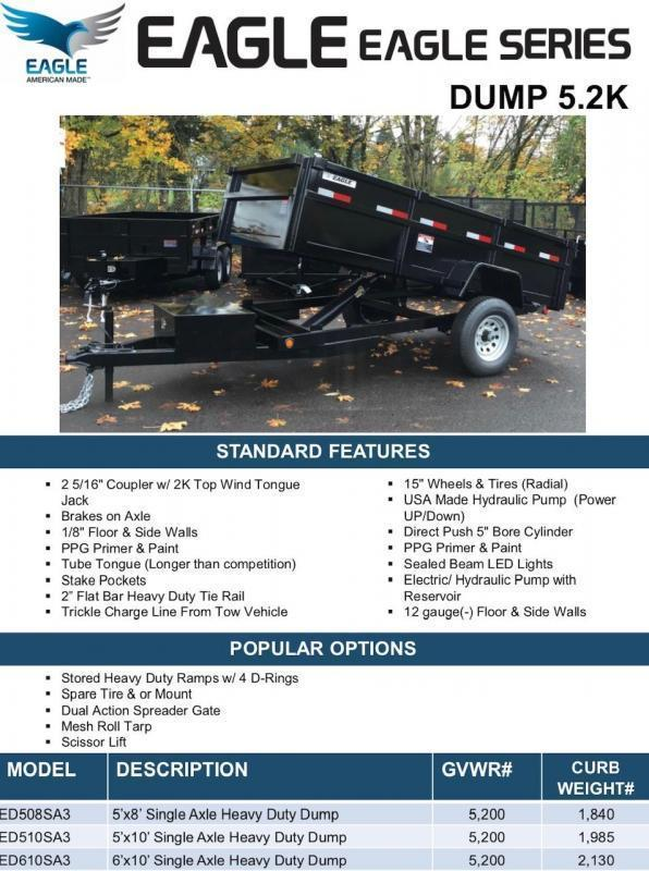 2020 5' x 10' ED510SA3 Eagle Dump Trailer