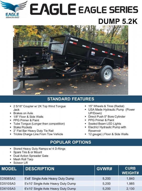 2020 5' x 10' ED510SA3 Eagle Dump Trailer