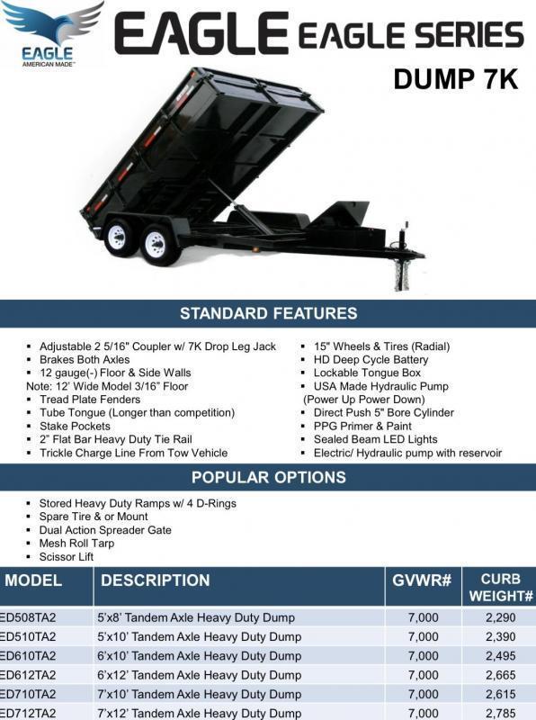 2020 Eagle Trailer 5' X 10' ED510TA2 Eagle Dump Dump Trailer