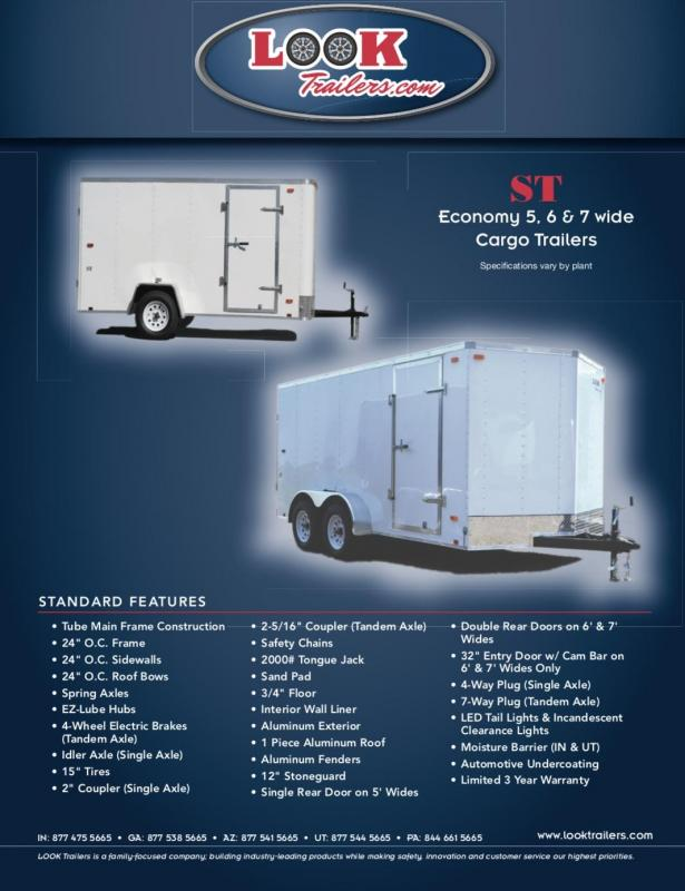 2021 Look Trailers 5' X 8' ST V-Nose  Cargo / Enclosed Trailer