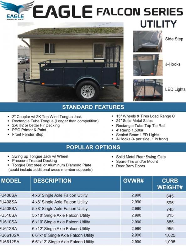 Eagle Trailer 5' X 10' Falcon Landscape Package Utility Trailer
