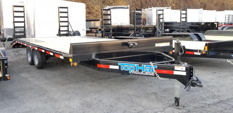 "2019 Top Hat 20' X 102"" Deckover Flatbed Trailer 5'Fold up Ramps"