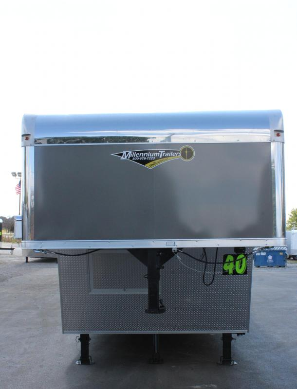 <b>NOW READY</b> 2020 40' Millennium Silver Gooseneck Enclosed Race Car Trailer w/Partial Living Quarters