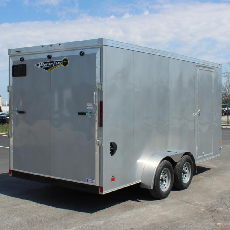 "<b>NOW AVAILABLE</b>  2020 7'x16' V-Nose Millennium Transport Cargo w/Ramp Door/ Slant Nose Option / 6"" Extra High"