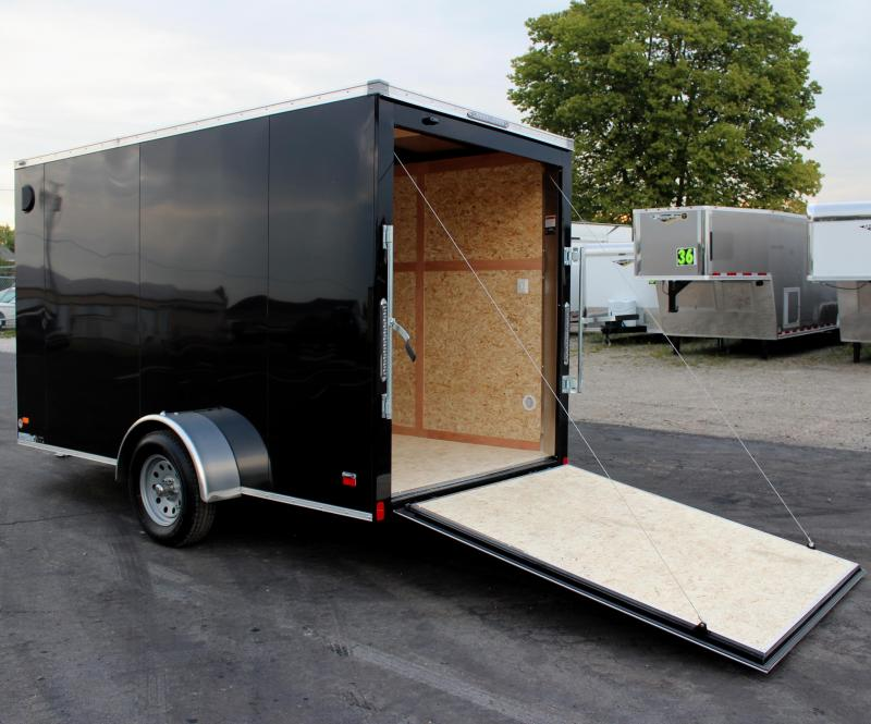 <b>CLEARANCE</b> 2020 6'x12' Scout Black Enclosed Cargo Trailer with Plus Package Free Options