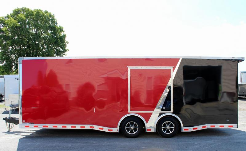 <b>PRI SPECIAL $18599</b> 2019 Red/Black 24' Millennium Extreme Race Car Enclosed Trailer w/Rear Wing & FREE Escape Door