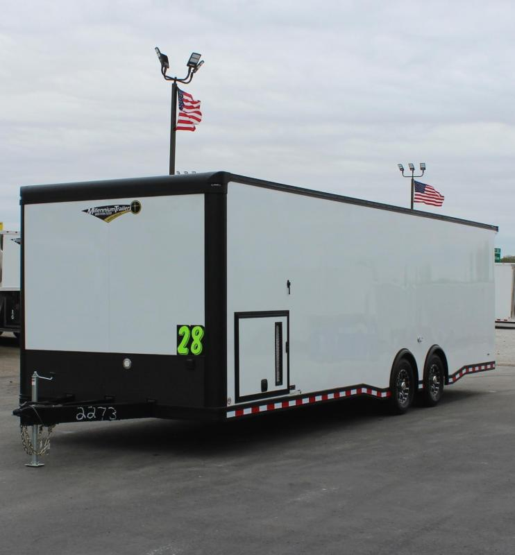 <b>BLACK-OUT PACKAGE</b> LOADED 2020 28' Millennium Extreme 6K Spread Axles/Alum Walls & Ceiling