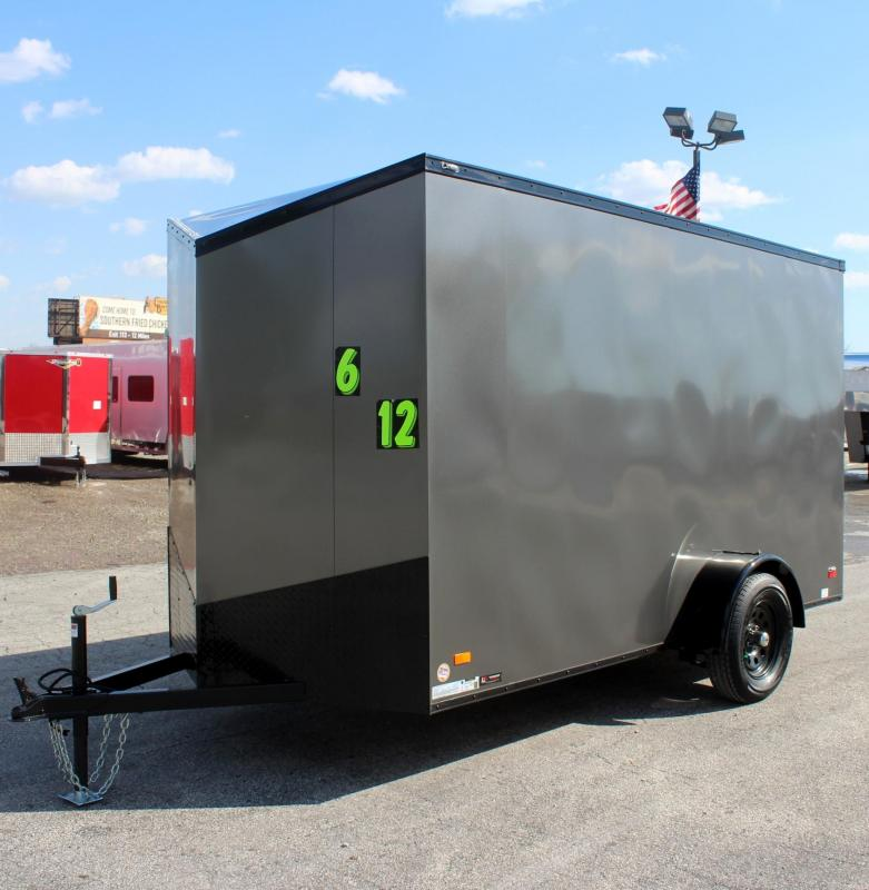 "<b> Ready For Your Toys! NEW BLACK-OUT PKG</b> 2020 6'x12' Scout Silver Enclosed Cargo Trailer 6"" Extra High"