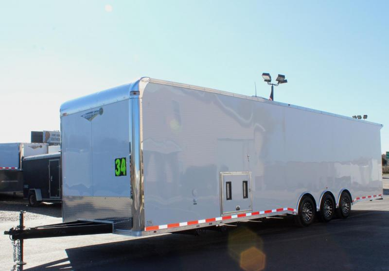 <b>Pre-Owned NEVER USED</b> 2020 34' Millennium Platinum Enclosed Race Car Trailer w/Full Bathroom