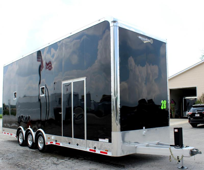 <b>Custom Builds Only</b> 28' Aluminum Millennium Stacker Trailer Spread Axles 3/7000K RED CABINETS & 13' Stinger Lift