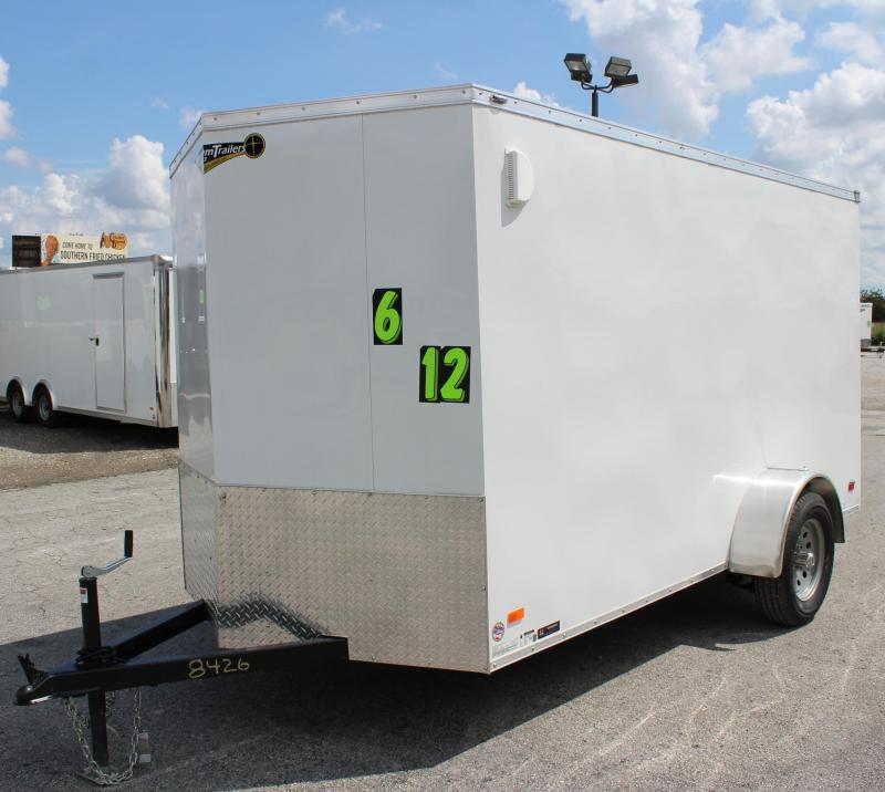 <b>CLEARANCE</b> 2019 6'x12' Scout White Enclosed Cargo Trailer Plus Pkg & Free Options