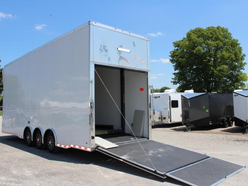 28' Stacker Race Car Trailer 3/7k Tri Spread Axles 14' Full Floor Car Lift