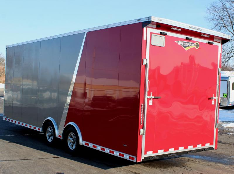 Need Extra Height? 2020 2-Tone 24' Millennium Extreme Race Car Trailer w/Spread Axle w/Rear Wing